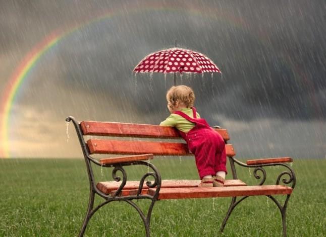 ребенок, радуга, дождь