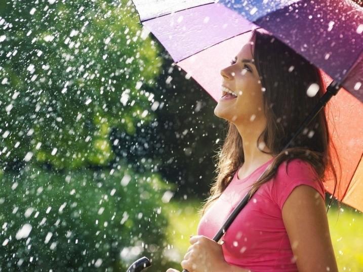 девушка под дождем с зонотом