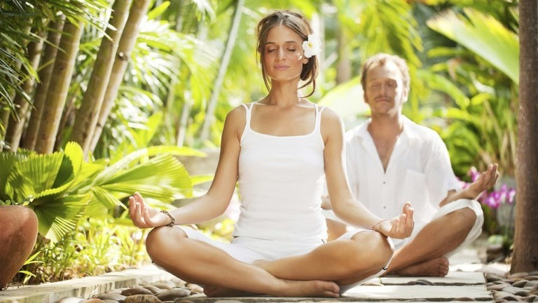 медитация, мужчина, женщина