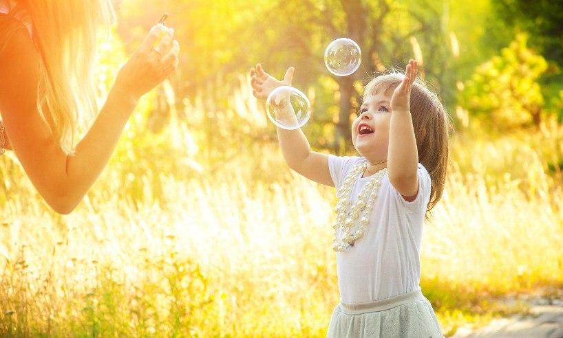 ребенок, счастье, мыльные пузыри