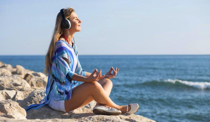 женщина, медитация, расслабление