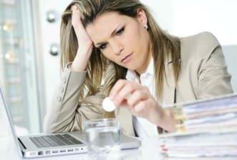 перенапряжение, стресс на работе, болит голова